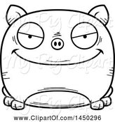 Swine Clipart of Cartoon Black and White Lineart Evil Pig Character Mascot by Cory Thoman
