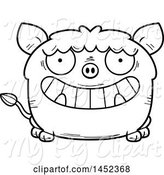 Swine Clipart of Cartoon Black and White Lineart Grinning Boar Character Mascot by Cory Thoman