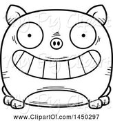 Swine Clipart of Cartoon Black and White Lineart Grinning Pig Character Mascot by Cory Thoman