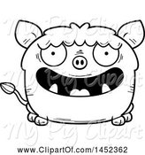 Swine Clipart of Cartoon Black and White Lineart Happy Boar Character Mascot by Cory Thoman