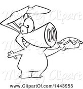 Swine Clipart of Cartoon Black and White Lineart Happy Pig Holding up a Pie by Toonaday