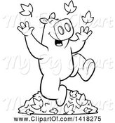 Swine Clipart of Cartoon Black and White Lineart Happy Pig Playing in Autumn Leaves by Cory Thoman