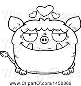 Swine Clipart of Cartoon Black and White Lineart Loving Boar Character Mascot by Cory Thoman