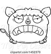 Swine Clipart of Cartoon Black and White Lineart Mad Boar Character Mascot by Cory Thoman