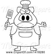 Swine Clipart of Cartoon Black and White Lineart Mad Chef Pig Holding a Spatula by Cory Thoman