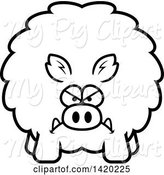 Swine Clipart of Cartoon Black and White Lineart Mad Chubby Boar by Cory Thoman