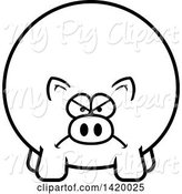Swine Clipart of Cartoon Black and White Lineart Mad Chubby Pig by Cory Thoman