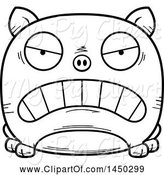 Swine Clipart of Cartoon Black and White Lineart Mad Pig Character Mascot by Cory Thoman