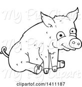 Swine Clipart of Cartoon Black and White Lineart Pig by Lineartestpilot