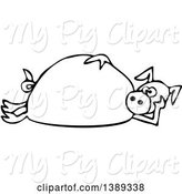 Swine Clipart of Cartoon Black and White Lineart Pig Laying on His Side by Djart