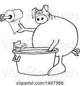 Swine Clipart of Cartoon Black and White Lineart Pig Washing His Hands in a Tub and Reaching for Paper Towels by Djart