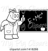 Swine Clipart of Cartoon Black and White Lineart Professor or Scientist Pig by a Chalkboard by Cory Thoman
