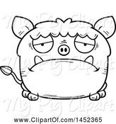 Swine Clipart of Cartoon Black and White Lineart Sad Boar Character Mascot by Cory Thoman