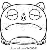 Swine Clipart of Cartoon Black and White Lineart Sad Pig Character Mascot by Cory Thoman