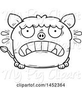 Swine Clipart of Cartoon Black and White Lineart Scared Boar Character Mascot by Cory Thoman