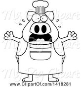 Swine Clipart of Cartoon Black and White Lineart Scared Chef Pig Screaming by Cory Thoman