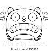 Swine Clipart of Cartoon Black and White Lineart Scared Pig Character Mascot by Cory Thoman