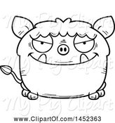 Swine Clipart of Cartoon Black and White Lineart Sly Boar Character Mascot by Cory Thoman