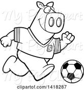 Swine Clipart of Cartoon Black and White Lineart Sporty Pig Playing Soccer by Cory Thoman