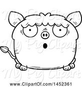 Swine Clipart of Cartoon Black and White Lineart Surprised Boar Character Mascot by Cory Thoman