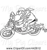 Swine Clipart of Cartoon Black and White Outline Design of a Biker Pig by Toonaday