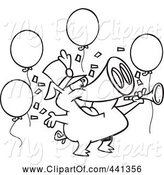 Swine Clipart of Cartoon Black and White Outline Design of a Celebrating New Year Pig by Toonaday