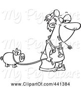 Swine Clipart of Cartoon Black and White Outline Design of a Hillbilly Doctor with a Pet Pig by Toonaday