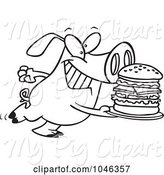 Swine Clipart of Cartoon Black and White Outline Design of a Pig Carrying a Big Burger by Toonaday