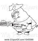 Swine Clipart of Cartoon Black and White Outline Design of a Pig Carrying a Sandwich by Toonaday
