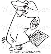 Swine Clipart of Cartoon Black and White Outline Design of a Pig Holding a Calendar by Toonaday