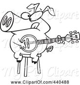 Swine Clipart of Cartoon Black and White Outline Design of a Pig Sitting on a Stool and Playing a Banjo by Toonaday