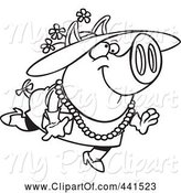 Swine Clipart of Cartoon Black and White Outline Design of a Stylish Pig Wearing a Hat by Toonaday
