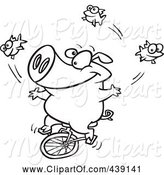 Swine Clipart of Cartoon Black and White Outline Design of a Unicycling Pig Juggling Fish by Toonaday