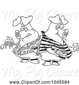 Swine Clipart of Cartoon Black and White Outline Design of Two Hogs Pigging out by Toonaday