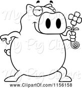 Swine Clipart of Cartoon Black and White Pig Holding a Daisy Flower by Cory Thoman