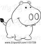Swine Clipart of Cartoon Black and White Pig Smiling by Cory Thoman