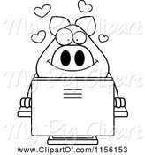 Swine Clipart of Cartoon Black and White Pig Using a Desktop Computer by Cory Thoman