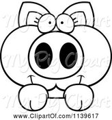 Swine Clipart of Cartoon Black and White Piglet Looking over a Surface by Cory Thoman