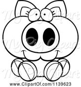 Swine Clipart of Cartoon Black and White Piglet Sitting by Cory Thoman