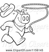 Swine Clipart of Cartoon Black and White Rodeo Pig Running with a Lasso by Cory Thoman