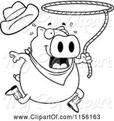 Swine Clipart of Cartoon Black and White Rodeo Pig Swinging a Lasso by Cory Thoman