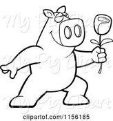 Swine Clipart of Cartoon Black and White Romantic Pig Presenting a Single Rose by Cory Thoman