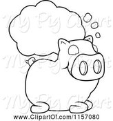 Swine Clipart of Cartoon Black and White Sleeping Pig with a Dream Cloud by Cory Thoman