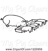 Swine Clipart of Cartoon Black and White Sow and Piglets Eating by Picsburg