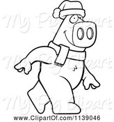 Swine Clipart of Cartoon Black and White Walking Christmas Pig by Cory Thoman
