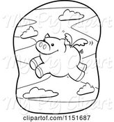 Swine Clipart of Cartoon Black and White Winged Pig Flying by Cory Thoman