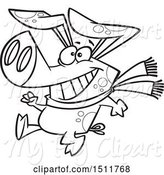 Swine Clipart of Cartoon Black and White Winter Pig Walking Upright and Wearing a Scarf by Toonaday