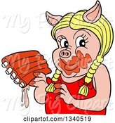 Swine Clipart of Cartoon Blond Female Pig Holding Saucy Ribs by LaffToon