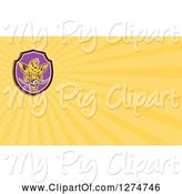 Swine Clipart of Cartoon Boar and Yellow Rays Business Card Design by Patrimonio