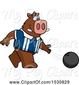 Swine Clipart of Cartoon Boar Bowling by Cory Thoman